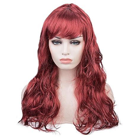 TrifyCore Peluca Larga Ondulada de Disfraz de Cosplay para Mujer Rojo