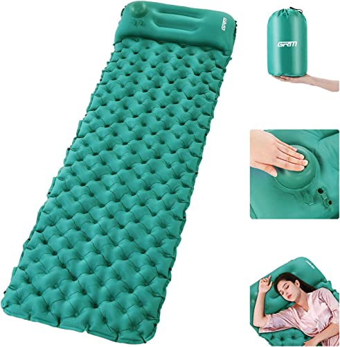 GRM Camping Sleeping Pad with Built-in Pump Upgraded Inflatable Camping Mat with Pillow for Backpacking, Traveling, Hiking, Durable Waterproof Compact Ultralight Hiking Pad