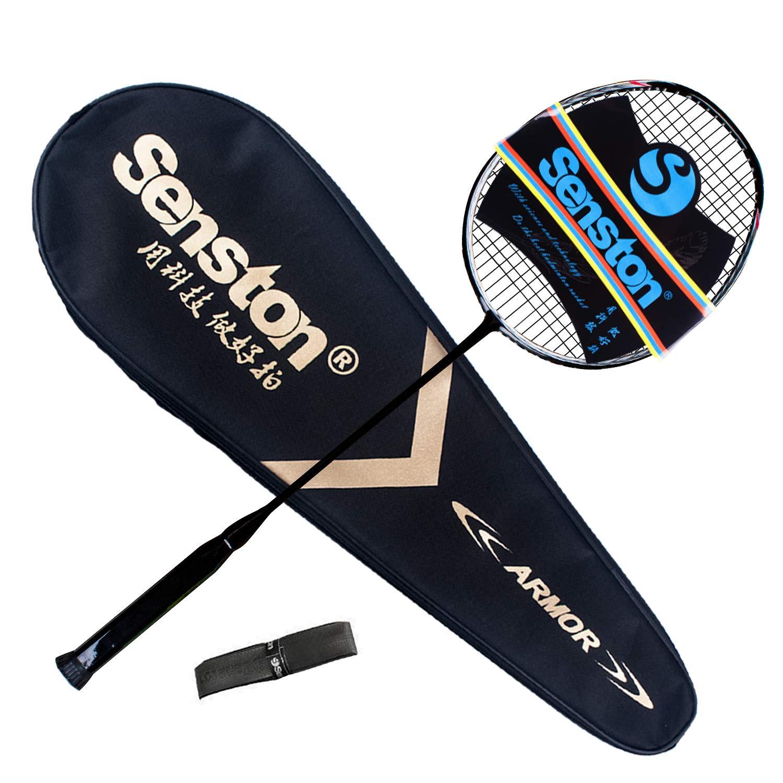 Senston N80-YT Jointless Badminton Racket Single High-Grade Badminton Racquet Carbon Fiber Badminton Racket Black with Racket Cover and Overgrip