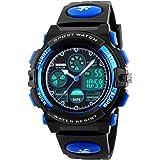 BesWlzボーイズビューマルチファンクションデュアルタイムデジタル時計スポーツスポーツ防水キッズウォッチ