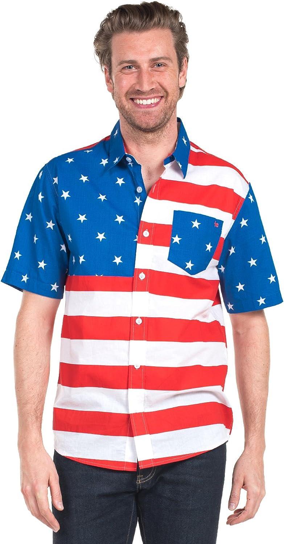 Patriotic USA Red White and Blue Hawaiian Shirt Tipsy Elves Mens American Flag Button Down Shirt
