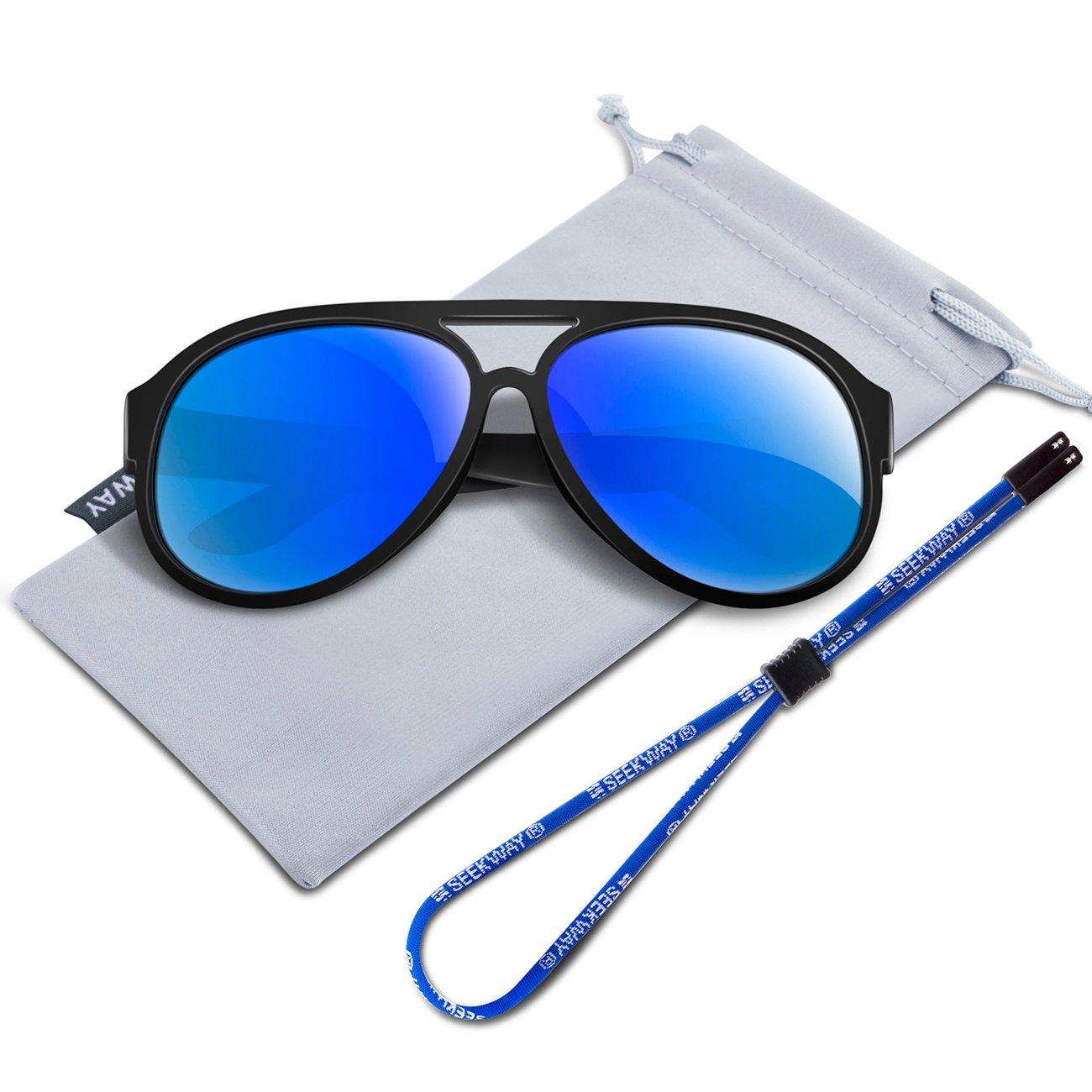 SEEKWAY Polarized Kids Sunglasses For Boys Girls Child Rubber Flexible frame Age 3+ SRK806 Blue Iced Lens)