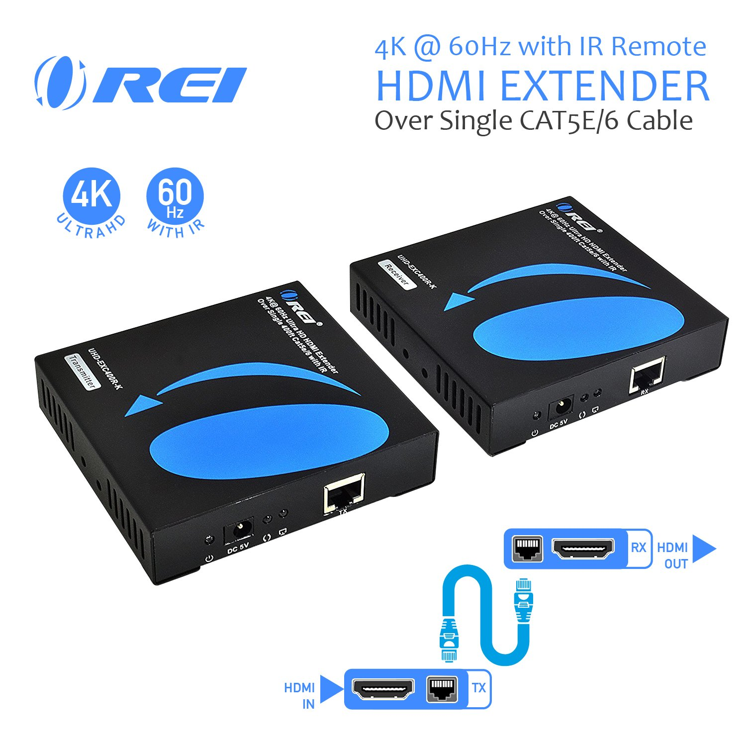 OREI HDMI Extender 4K Over Single CAT5e/CAT6 Cable One to Many Multiple Display Matrix 4K @ 60Hz with IR Remote - Up to 400 Ft