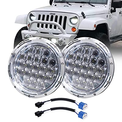 "COWONE Newest 130W 7"" inch LED Headlights DRL for Jeep Wrangler 97-2020 JK TJ LJ Hummber H1 H2 Headlamp Chrome: Automotive"