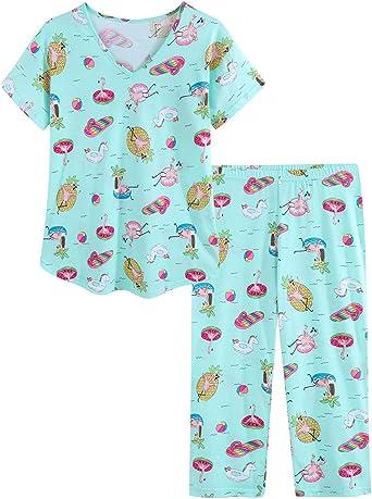 Ladies Short Sleeve Floral Patterned Pyjamas PJ Nightware Set Size 10-22