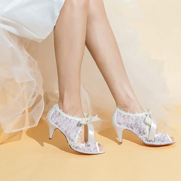 Womens Bridal Shoes 5949419 Peep Toe Cone Heel Lace Satin Pumps Ribbon Tie Wedding Shoes