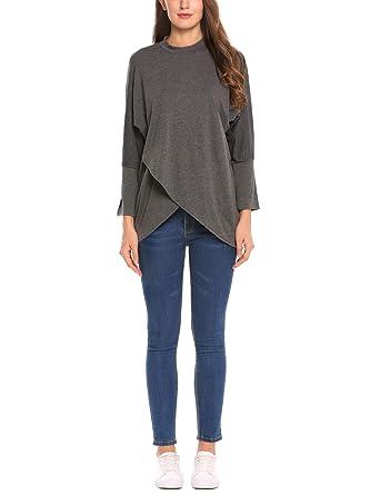 Finejo Bluse Damen Herbst Shirt Langarm Blusenshirt Blusen Hemd Oberteil  Tops Loose a1e9a7ef1d
