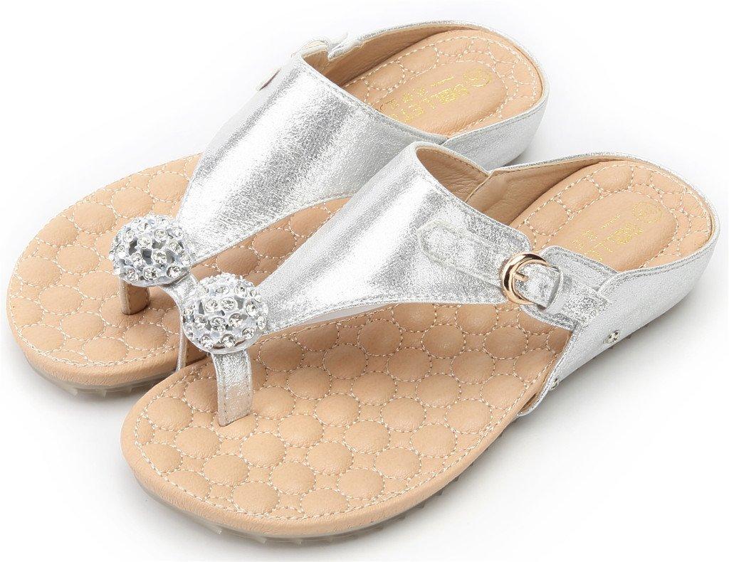 AgeeMi Schuhes Damen Rund Diamant Offener Zehe Flip Flops Diamant Rund Keilabsatz Sandalen Silber PU (EuL09) b0e86b