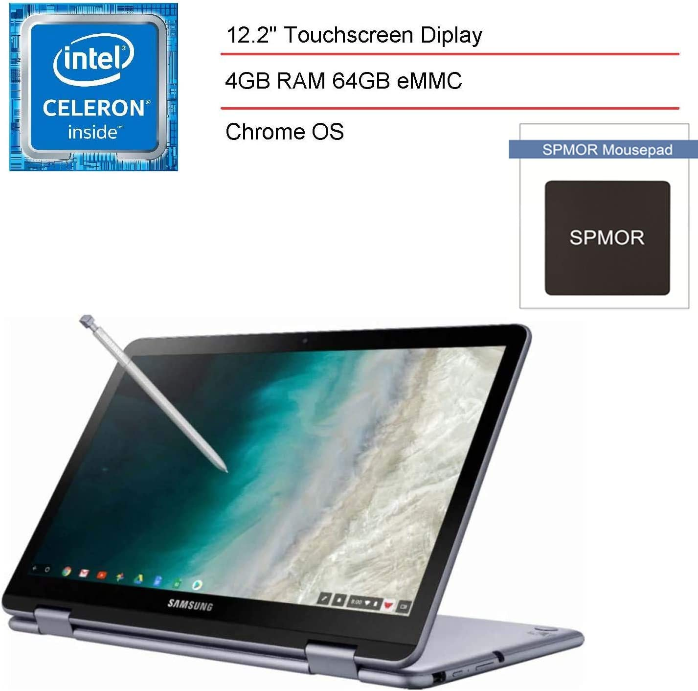 """2020 Samsung Chromebook 12.2"""" FHD Touchscreen 2-in-1 Laptop, Tablet for Business or Student, Intel Celeron 3965Y, 4GB RAM, 64GB eMMC, 802.11AC WiFi, Chrome OS, Digital Pen and SPMOR Accessories"""