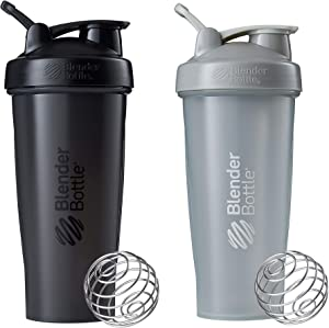 BlenderBottle Classic Shaker Bottle Perfect for Protein Shakes and Pre Workout, 28-Ounce (2 Pack), Grey and Black