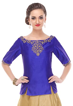 29d491a506ba8f Amazon.com  Utsav Fashion Embroidered Dupion Silk Top in Royal Blue   Clothing
