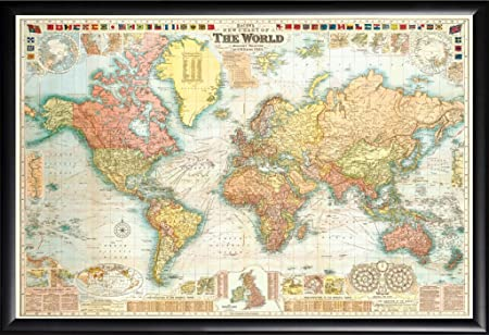 Framed world map gw bacon circa 1907 18x275 poster in basic black framed world map gw bacon circa 1907 18x275 poster in basic black detail wood gumiabroncs Images
