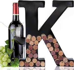 Metal Letter Wine Cork Keepsake Saver & Holder Monogram w/Free Wall Mount Kit A-Z (K)