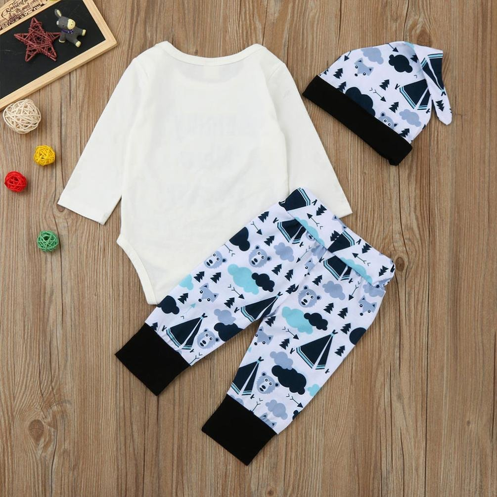 Sunbona 3pcs Set Outfits Infant Baby Boys Print Long Sleeve Romper+Pants with Hats Clothes