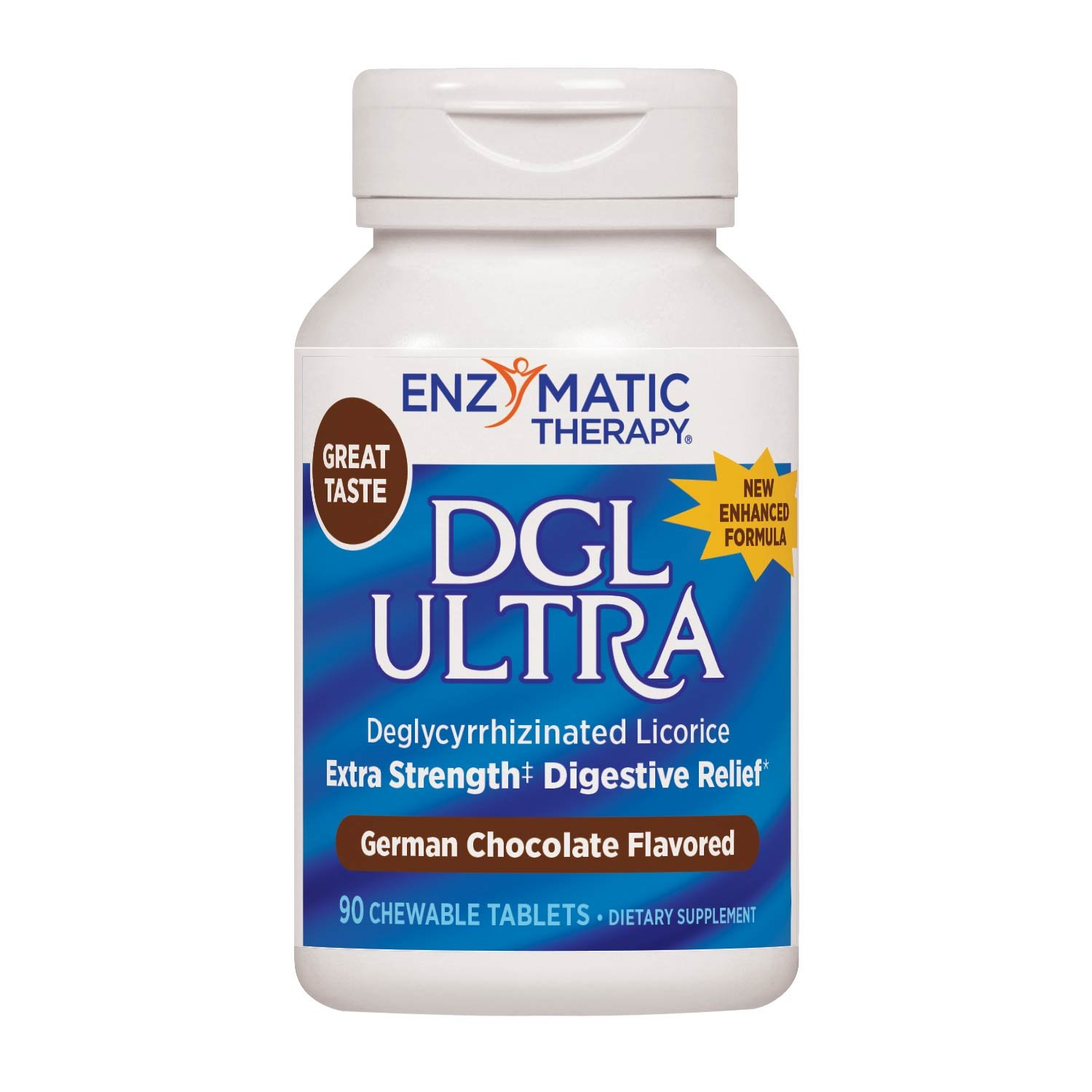 DGL ULTRA: Ultra-Strength Deglycyrrhizinated Licorice,  10:1 Deglycyrrhizinated Licorice, German Chocolate Flavor,  Chewable Tablets, Gluten-Free, 90 Count