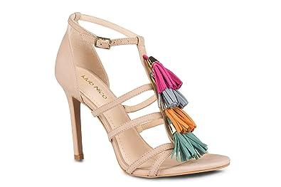 f9431018412 Klub Nico MYRA Multi Color Tassel Nude Suede Single Sole Stiletto Heel Open  Toe Sandal (