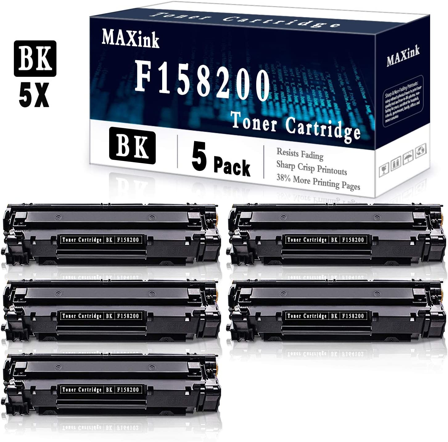 5 Pack Black Toner Cartridge Compatible for Canon F158200 Printer Toner Cartridge,Sold by MAXink