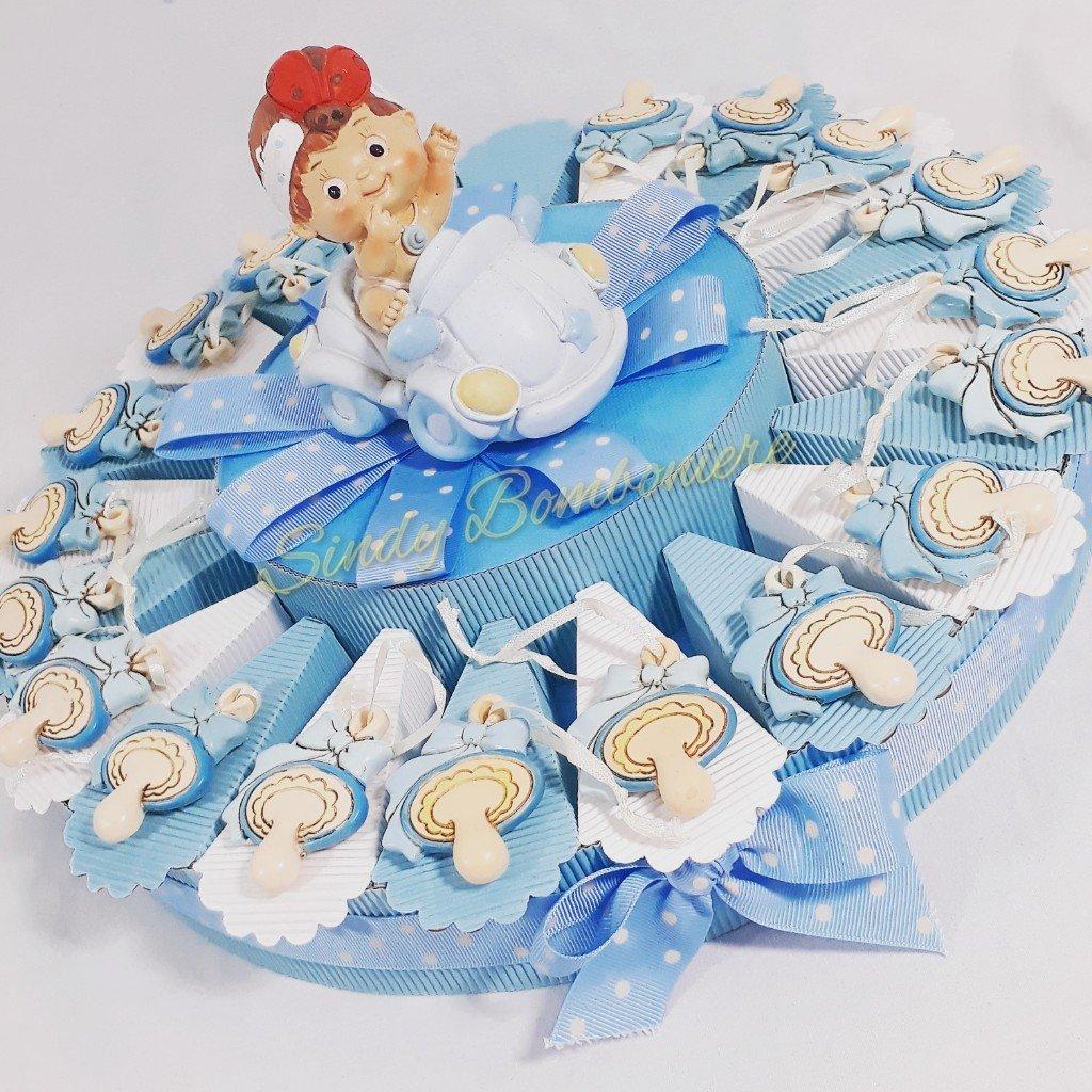 Torte Gastgeschenk Schnuller Magnet zum Aufhängen zur Geburt eines Kindes Torta da 35 fette + centrale