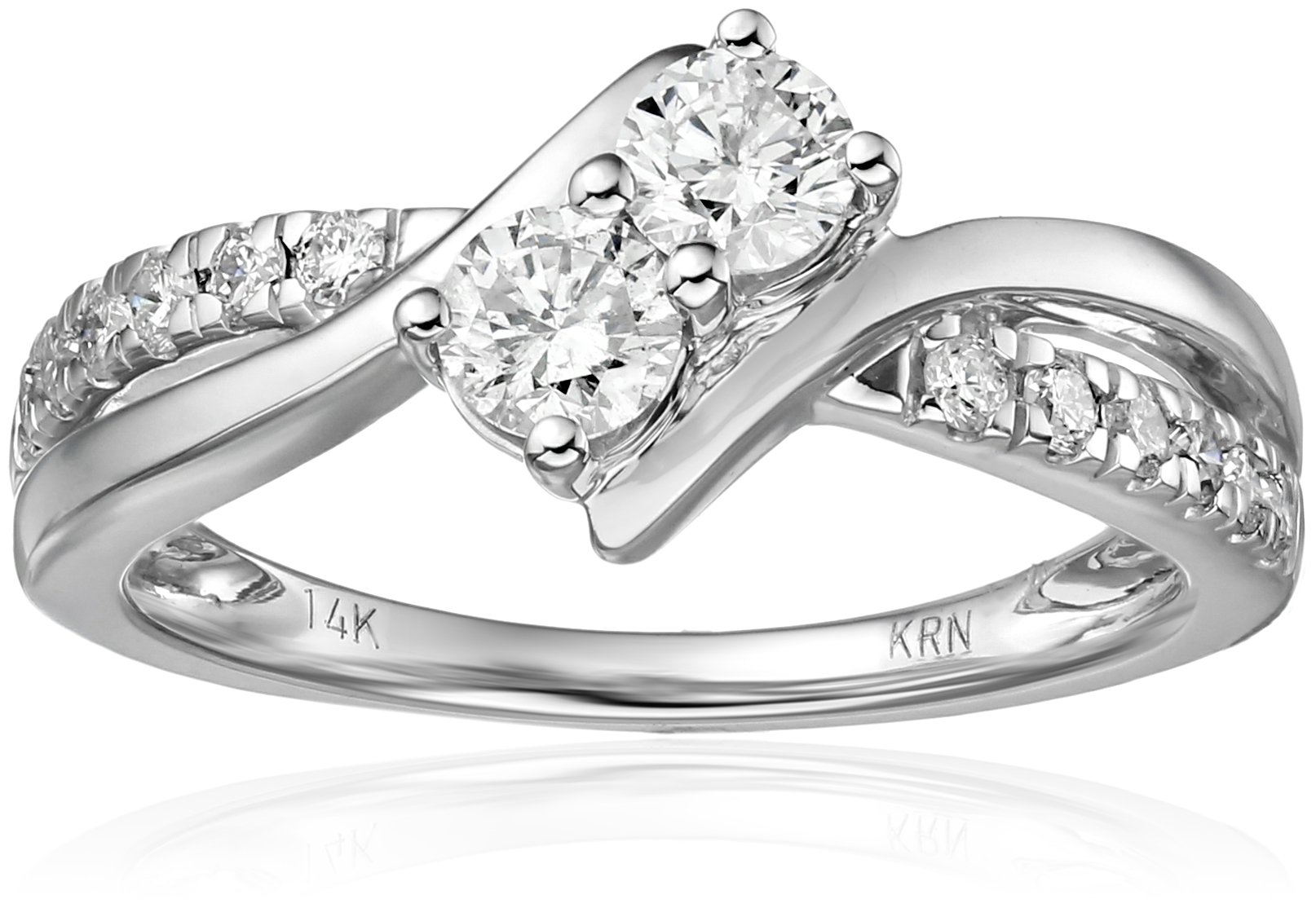 Two Stone Diamond 14k White Gold Ring (3/4cttw, H-I Color, I2 Clarity), Size 7