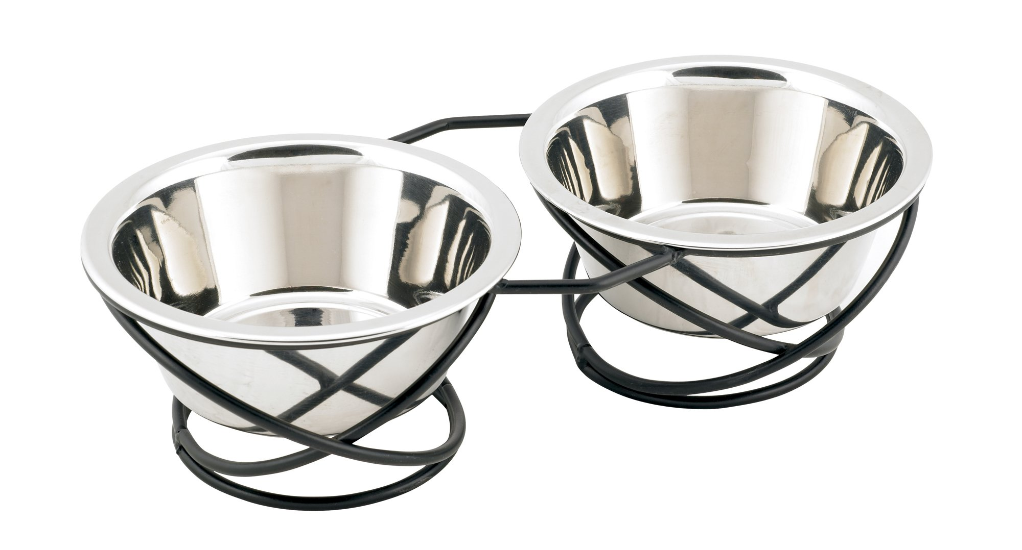 Buddy's Line Spring Style Double Diner Pet Bowl, Black Iron Base, 12 ounces