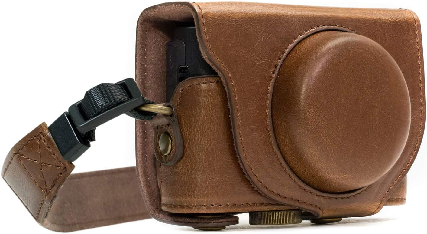 MegaGear Ever Ready Leather Camera Case Compatible with Sony Cyber-Shot DSC-RX100 VI, DSC-RX100 V, DSC-RX100 IV, DSC-RX100 III