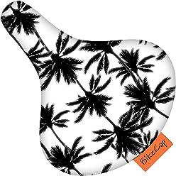 Large by BikeCap Black//White BikeCap Tropical Tree Bike Seat Cover