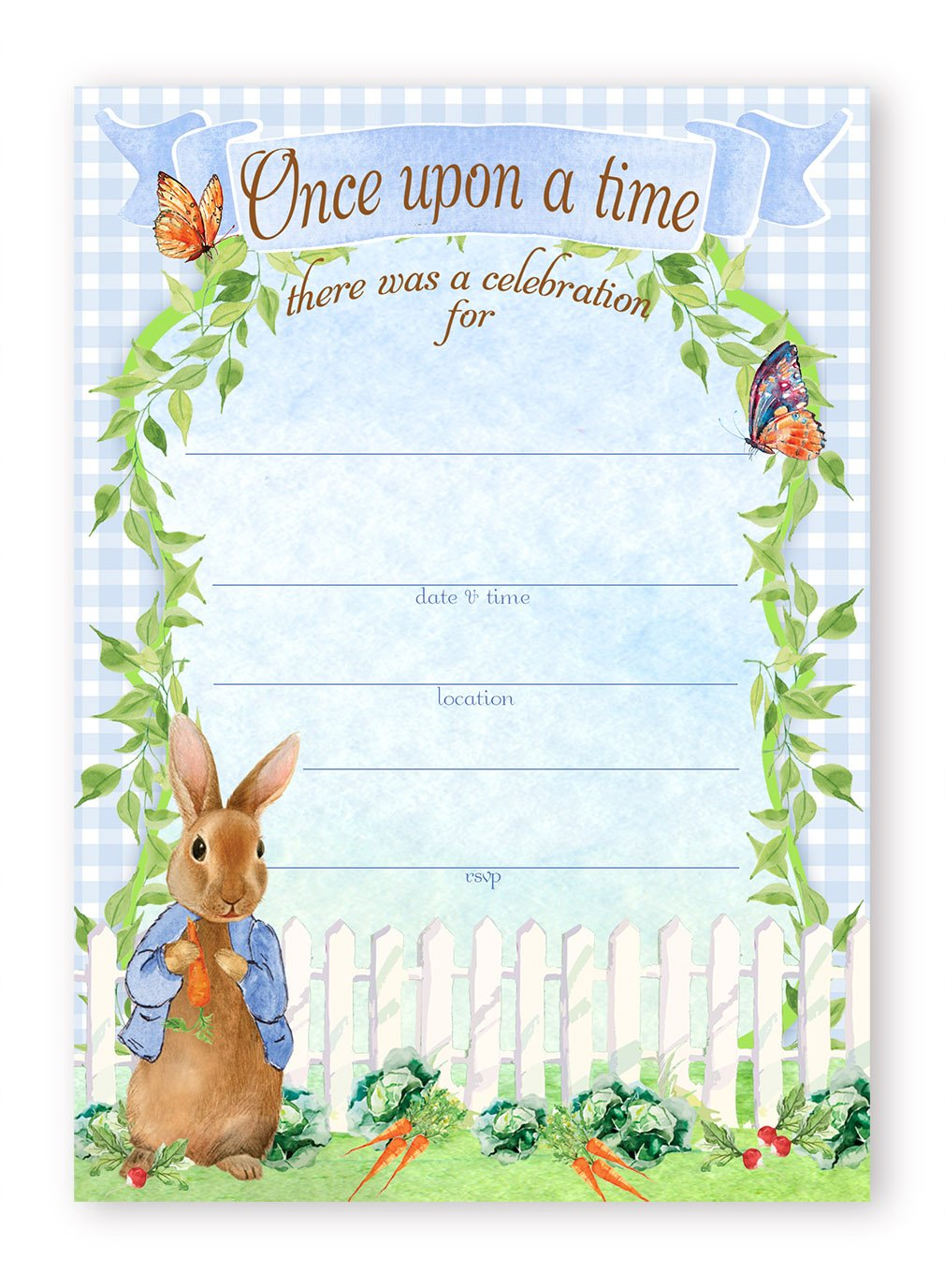 Peter Rabbit Party LARGE Invitations