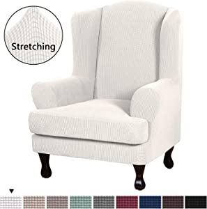 Stretch Slipcovers Sofa Covers Furniture Protector with Elastic Bottom, Anti-Slip Foams 2 Piece Couch Cover, Lycra Spandex Jacquard with Small Checks Wing Chair Slipcover(Wing Chair, Ivory White)