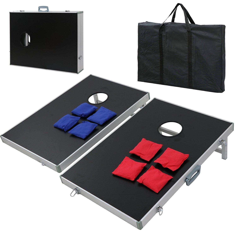 ZENY 3' x 2' Cornhole Bean Bag Toss Game Set with Carrying Case Aluminum Lightweight Corn Hole Board
