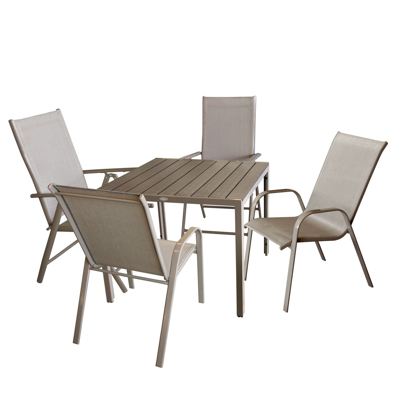 5tlg. Bistrogarnitur Aluminium Gartentisch mit Polywood Tischplatte, 90x90cm + 2x Hochlehner mit 7-fach verstellbarer Rückenlehne Textilenbespannung + 2x Stapelstuhl Gartengarnitur