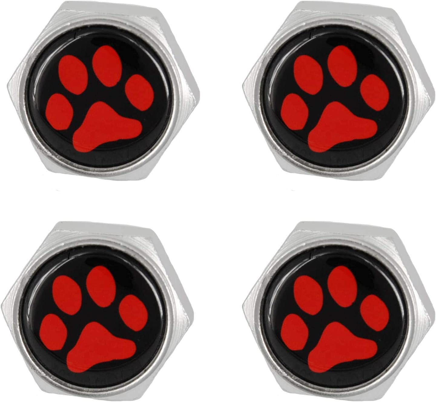 Pack of 8 Black, Black Paw Print White Base Cutequeen Little License Plate Frame Bolts Screws Metal