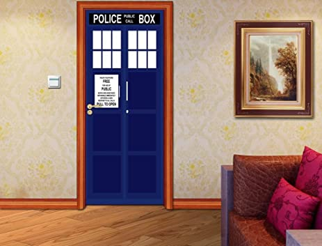 Tardis Police Call Box DOOR WRAP Decal Wall Sticker Mural Personalized NAME  D127, Custom