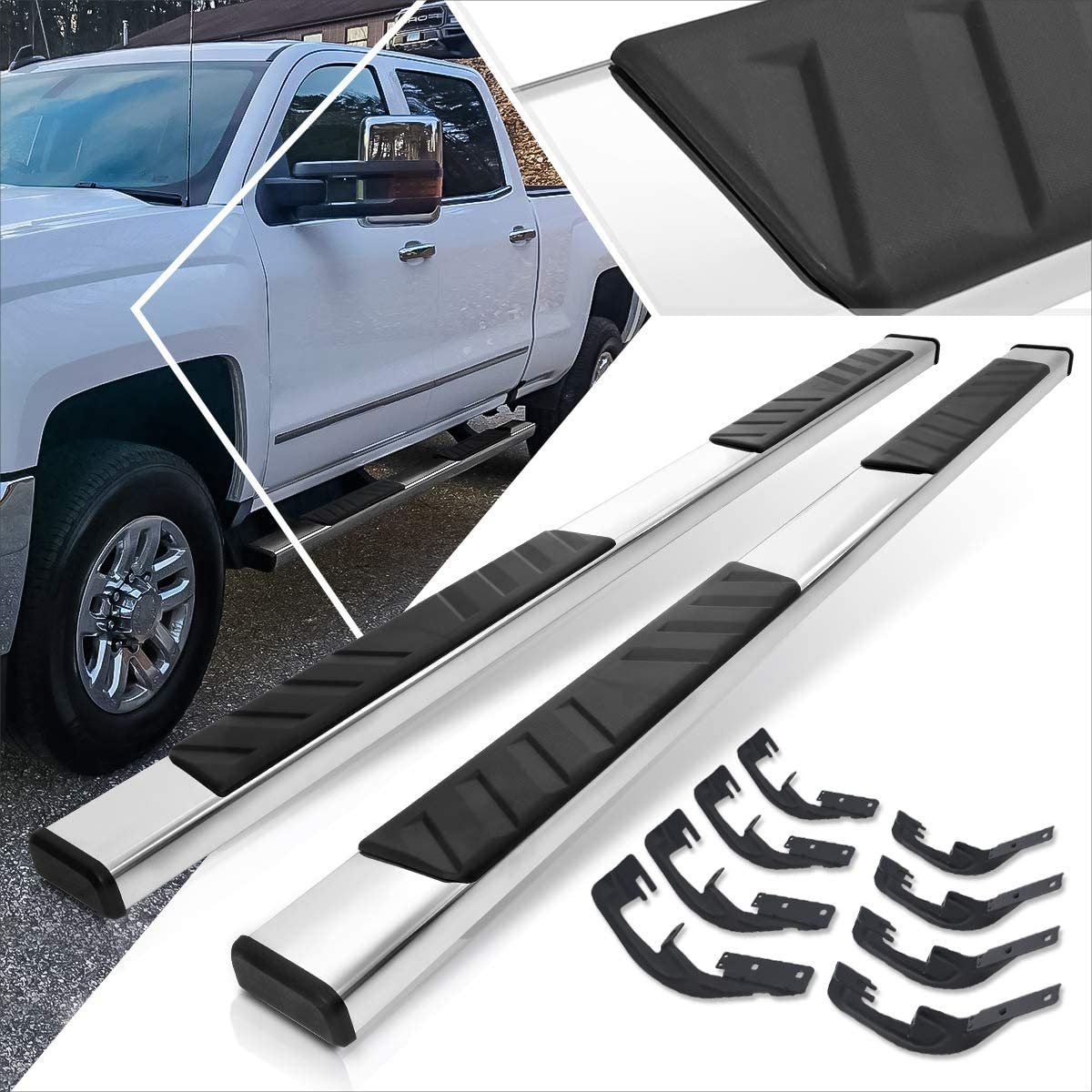 5 Inches Chrome Running Board Side Step Nerf Bar for Chevy Silverado