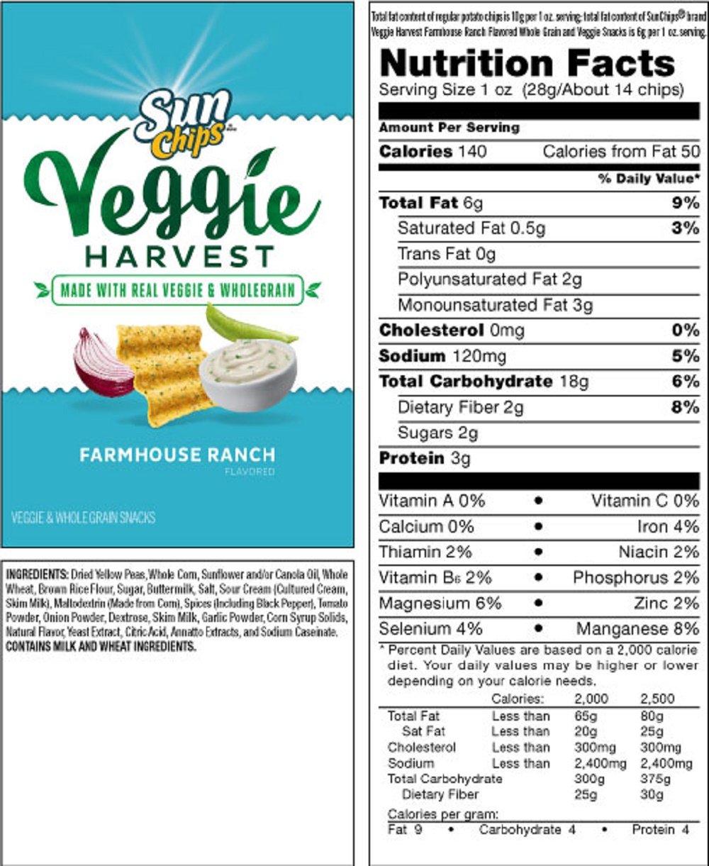 Amazoncom Frito Lay Sun Chips Veggie Harvest Chips 7oz Bag