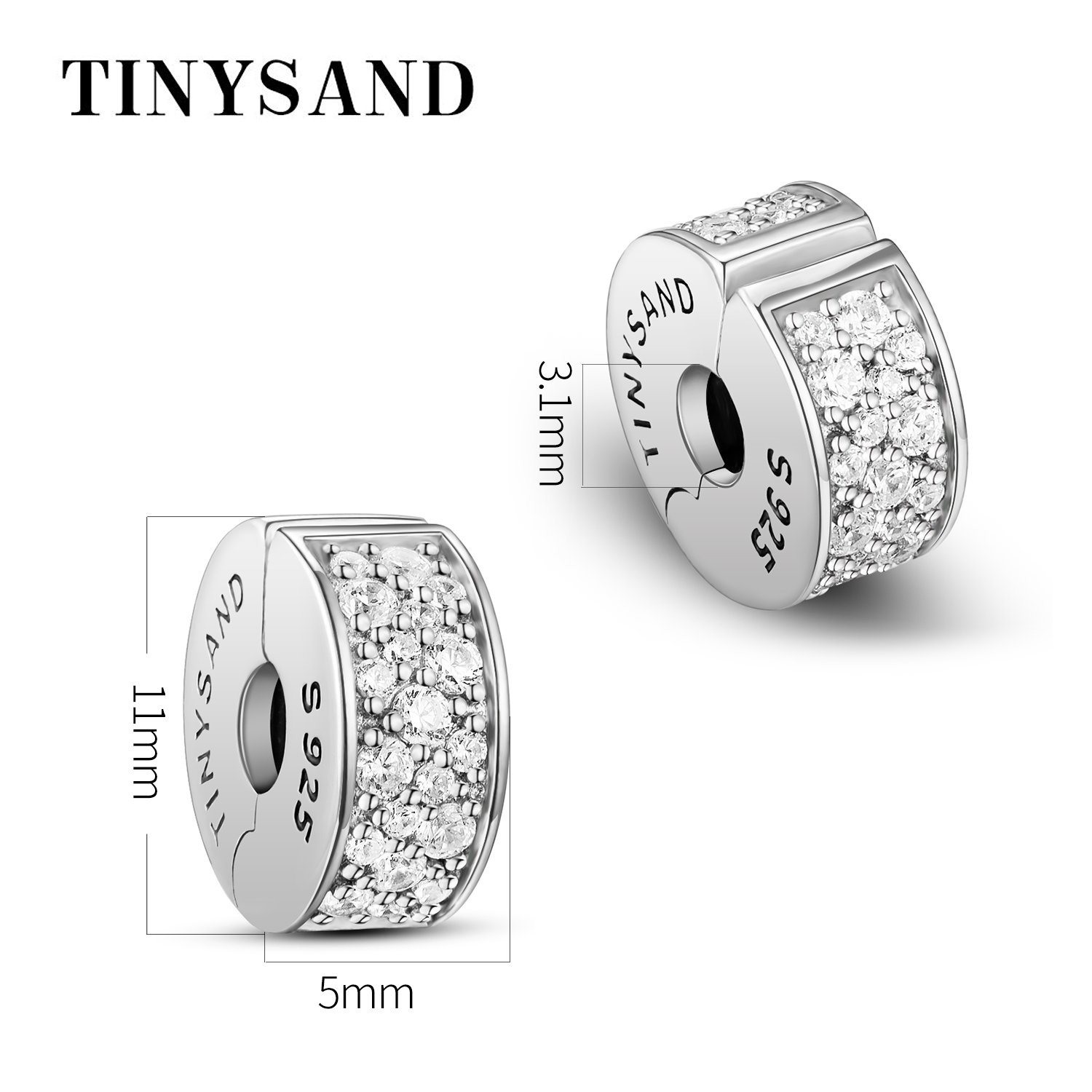 TINYSAND 925 Sterling Silver Dazzling CZ Clip Lock Stopper Spacers Charms Beads Fits European Snake Bracelet Bangle Unique Jewelry for Girls Women by TINYSAND (Image #3)