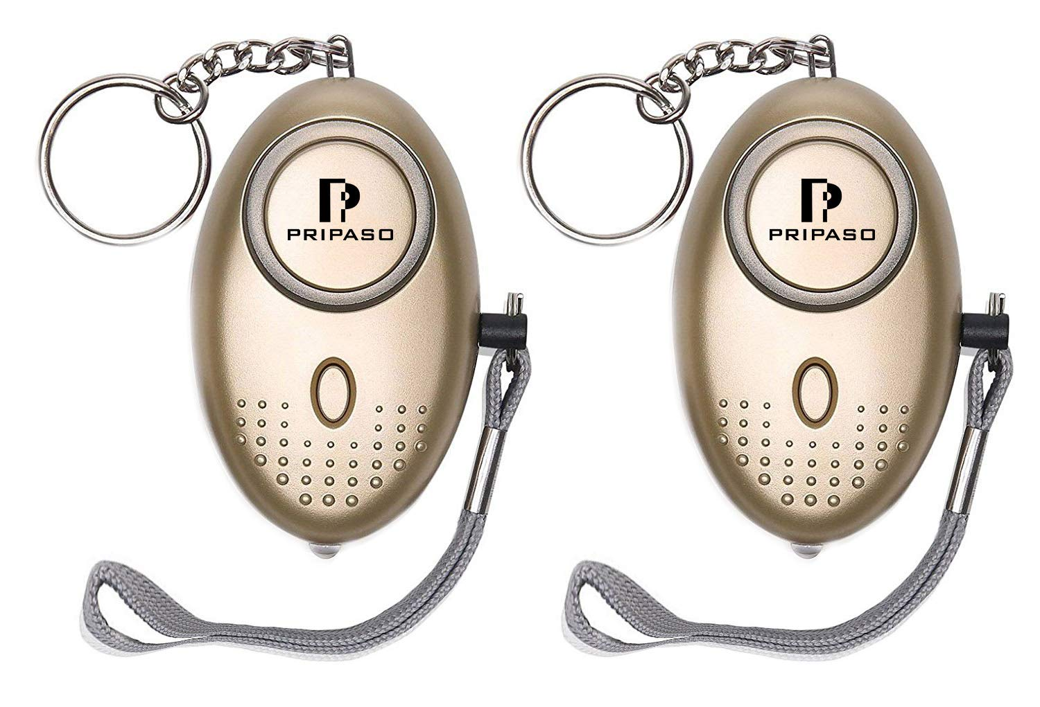Emergency Personal Alarm, 130Db Safesound Personal Security Alarm Keychain with LED Flashlight Portable Safety Alarm for Women, Kids, Girls, Self Defense Electronic Device (2Pack Gold)