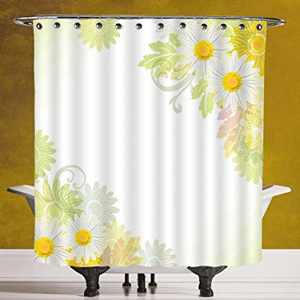 SCOCICI Funky Shower Curtain 30 By FlowerFloral Daisies Abstract Oriental Details And Leaves