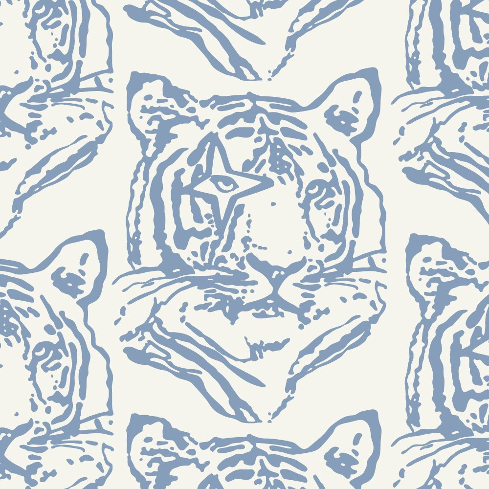 Aimée Wilder Star Tiger Denim Designer Wallpaper, Roll