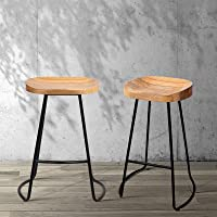 Artiss 2 Pcs Industrial Bar Stools, Tractor Bar Chairs with Curved Wooden Seat and Sturdy Metal Base (65cm Height…