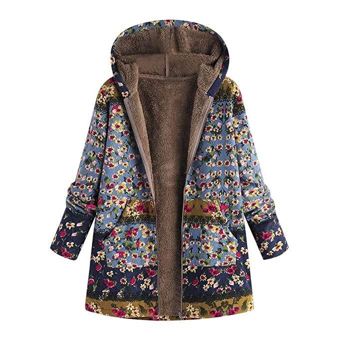 HGWXX7 Womens Winter Vintage Print Cotton Pockets Loose Thicker Hasp Hooded Outwear Coats(Blue,