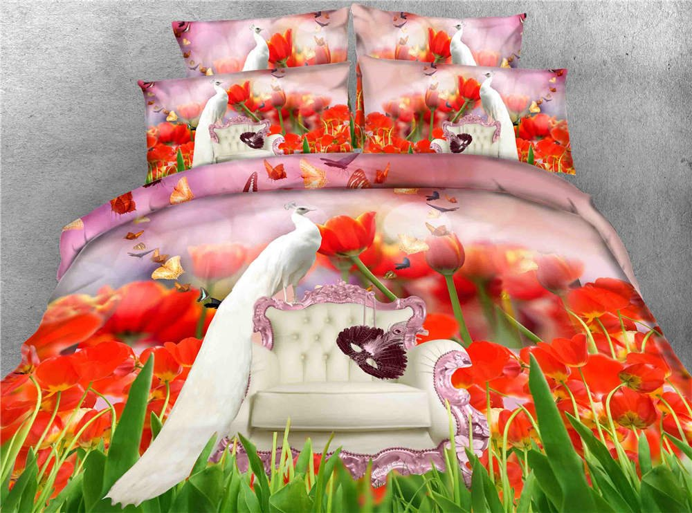 3D Printed Tulip Peacock Bedding Sets Floral Duvet Cover Set Twin Full/Queen King Cal King Bedspreads Animal Home Texyiles 3 Piece Set Cotton/Polyester (Cal King)