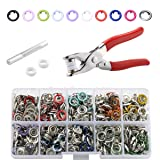 CHEPULA 200 Sets 9.5mm Metal Snaps Buttons with Fastener Pliers Press Tool Kit for for Sewing and Crafting (10 Colors)