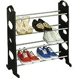 Home Basics 12 Pair Organizer Shoe Rack, 4 Tiered Shoe Organizer, Storage Shelf, Ideal for Entryway Hallway, Black