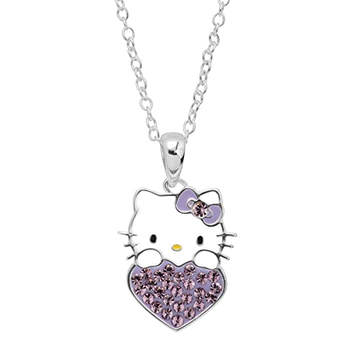 effee40ed Image Unavailable. Image not available for. Color: Girl's Hello Kitty June  Heart Pendant Necklace with Crystals in Sterling Silver-Plated Brass