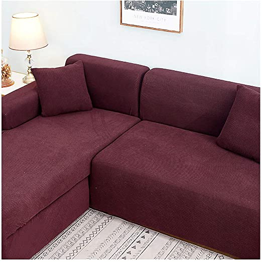 Polyester Stretch Sectional Sofa Slipcovers, Universal Anti-Slip Sofa Covers Furniture Protector for 1 2 3 4 Food L-Shape Couch-a (4 Seats+4 Seats)