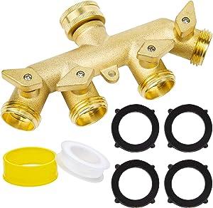 4 Way Garden Hose Splitter, Heavy Duty Solid Brass Garden Hose Splitter, Faucet Splitter ,3/4