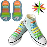No Tie Shoelaces, Canwn Flat Elastic Waterproof Silicone Shoelaces for Kids and Adults Athletic Running Shoe Laces with Multicolor for Sneaker Boots and Casual Shoes