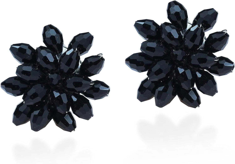 Silver Metal Flower Clip On Earring
