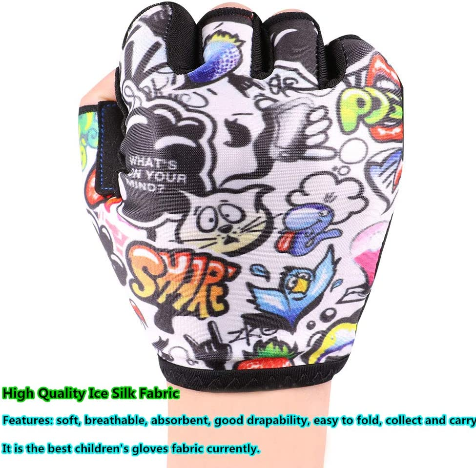 Kids Bike Gloves for Boys Girls Age 4 5 6 7 8 9 10 11 12 Optional Colorful Lively Fabric Half Finger Mountain Bike Gloves