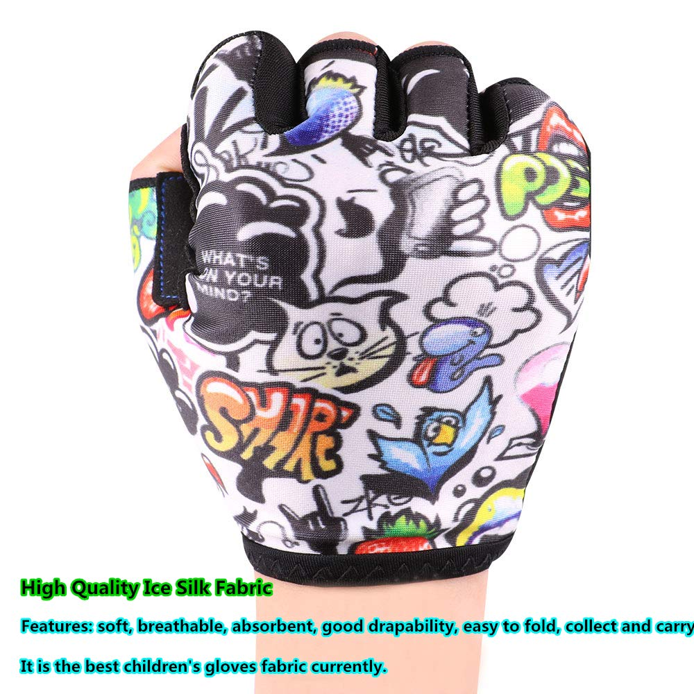 Lively Mountain Bike Gloves Colourful Fabric Kids Bike Gloves for Boys Girls Age 4 5 6 7 8 9 10 11 12 Optional